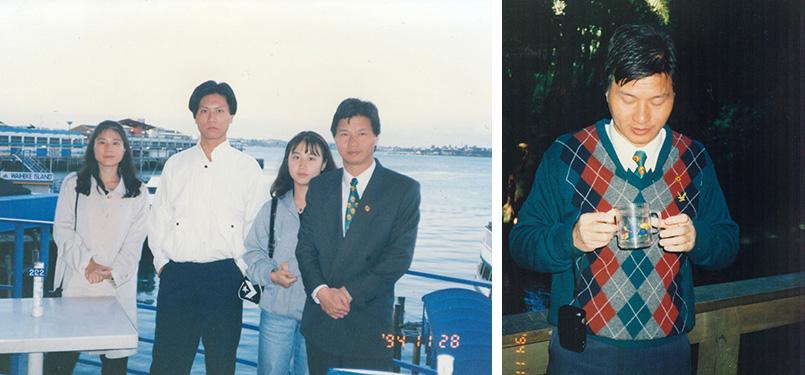 1994年11月28妙禪(劉錦隆)日探望探望其子時全家合照。他還在印心禪園冷泉池品嘗冷泉甘味