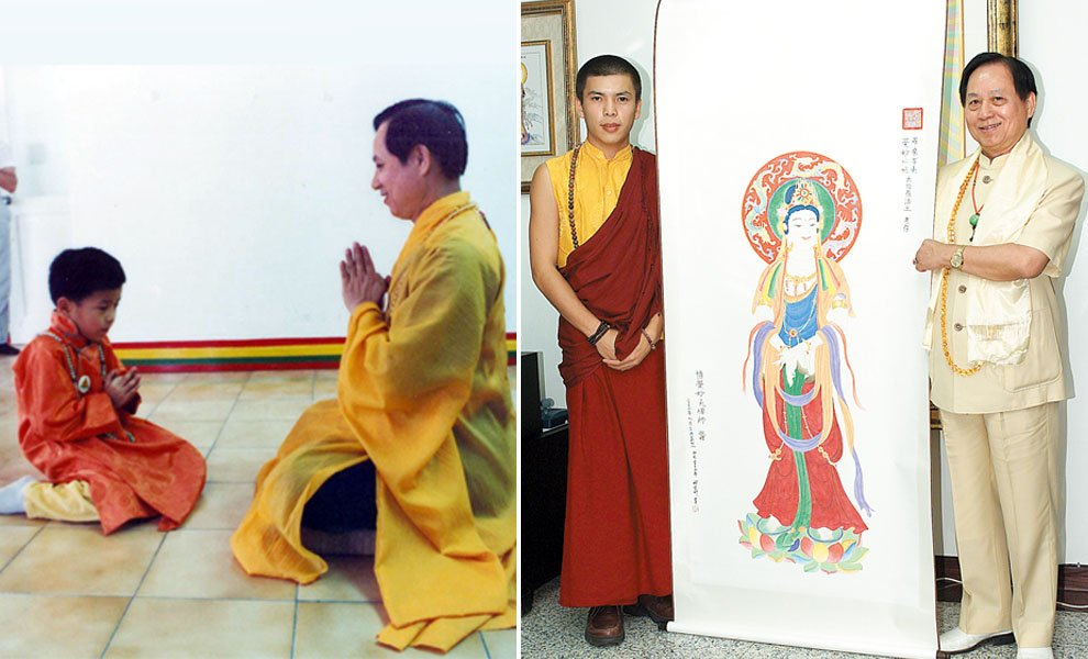 白教喀舉派菩曼仁波切,幼時皈依悟覺妙天禪師,年長回台會晤悟覺妙天禪師