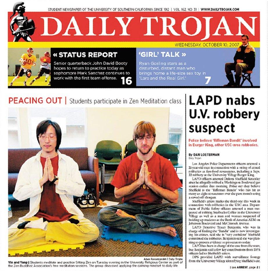 南加大禪學社上了學校報紙頭版
