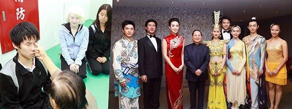 悟覺妙天禪師接見以演出「千手觀音」而聞名的「中國殘疾人藝術團」,一一為團員加持